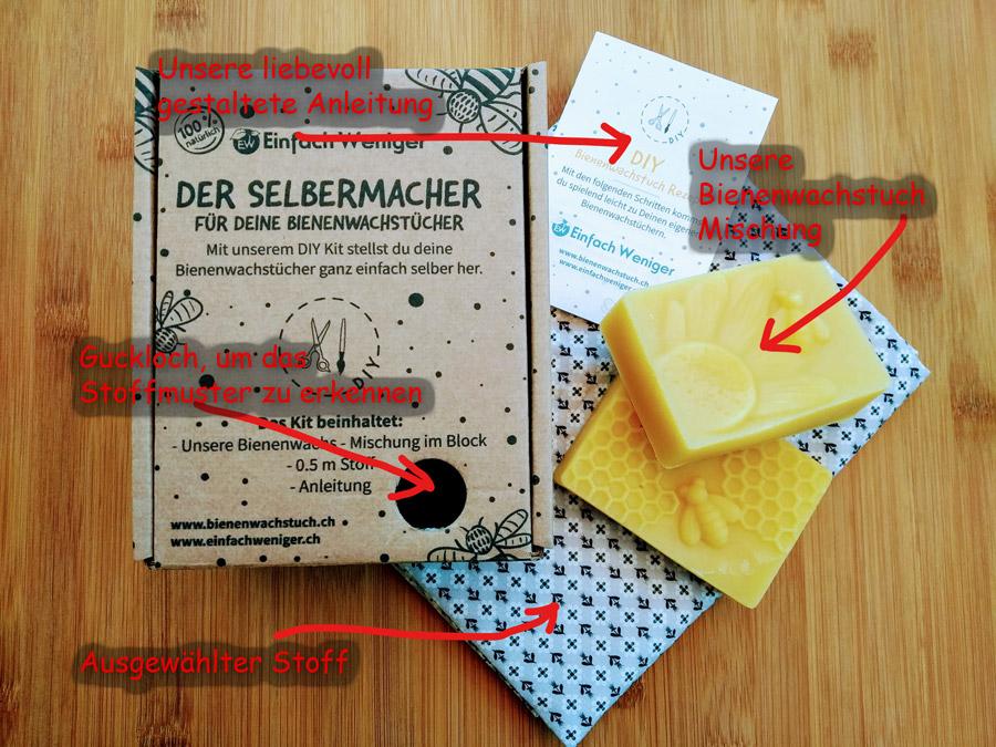 Bienenwachstuch selber machen, Wachs, Stoff, Anleitung und eine schöne Verpackung